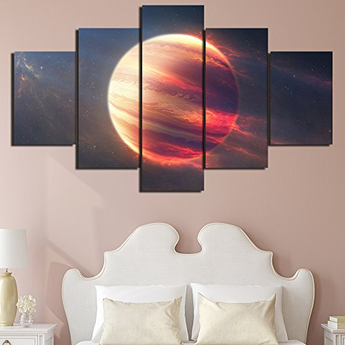 [Small] Premium Quality Canvas Printed Wall Art Poster 5 Pieces/5 Pannel Wall Decor Earth Space Moon Planet Painting, Home Decor Pictures - (Planet Earth Print)