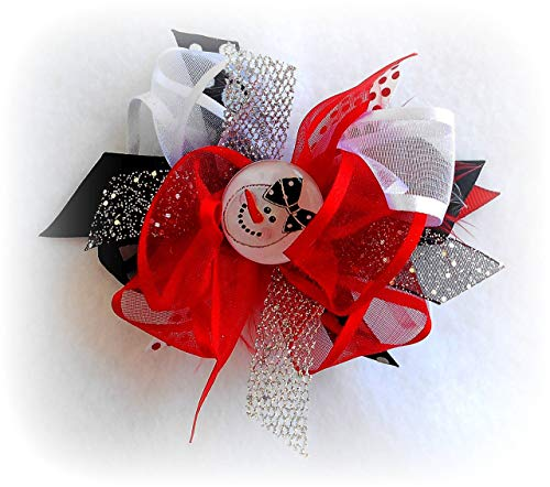 SNOWGIRL HAIR BOW TODDLER LITTLE GIRLS HAIRBOWS SNOW FLAKES RED BLACK WHITE SILVER POLKA DOTS SNOWMAN ()