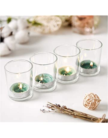 81f90d251a1 Supreme Lights Glass Votive Candle 12 Pack Tealight Holder Clear