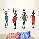 Happy Walls Tribal African Women (Vintage Lady) in Colourful Tribal Attire Tribal Dance Pose Abstract Art/Modern Art/Vector Art Wall Sticker/Decals (5740)