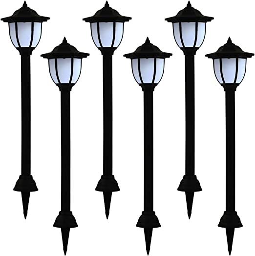 Tidyard Lámparas solares LED de Exterior 6 Unidades Negras Lámpara para jardín: Amazon.es: Hogar