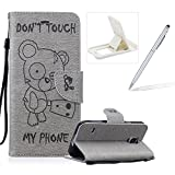 Case For Samsung Galaxy S5,Smart Case for Samsung Galaxy S5,Herzzer Stylish Cute Bear Don't Touch My Phone Design PU Leather Wallet Case Stand Flip Case with Credit Card Slot for Samsung Galaxy S5,Grey