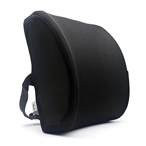 Premium Black Fabric Seat (Valuetom Premium Lumbar Support Pillow - Memory Foam Lower Back Support Cushion for your Home, Office Chair, and Car - NEW Ergonomic Memory Foam Design with Cool Mesh Fabric (Black))
