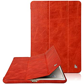 Jisoncase Classic Series Apple New iPad Pro 10.5 Case Vintage Genuine Leather Smart Cover Magnetic Flip Case with Auto- wake/ Sleep Function, Red ( JS-PRO-20A30)