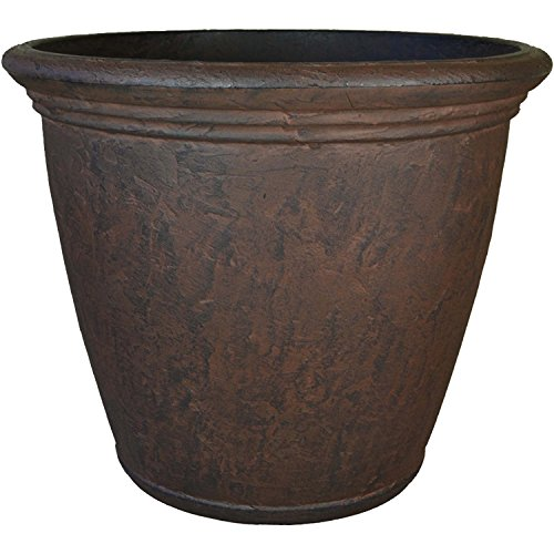 Sunnydaze Anjelica Flower Pot Planter, Outdoor/Indoor Unbreakable Double-Walled Polyresin with UV-Resistant Rust Finish…
