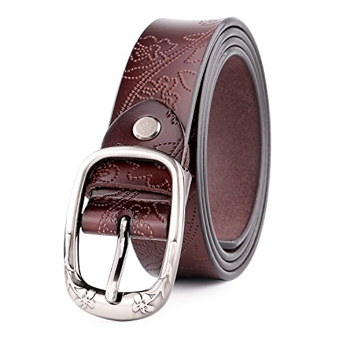 WERFORU Classic Women Leather Belts for Jeans Floral Embossed Waist Strap with Pin Buckle