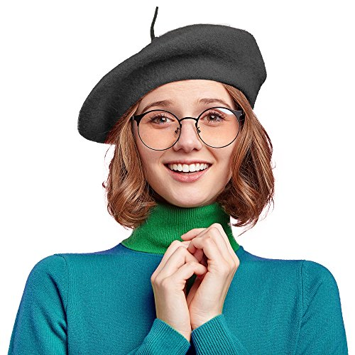 Skeleteen Black French Style Beret - Women's Classic Beret Hat For Casual Use - 1 Piece for $<!--$6.49-->