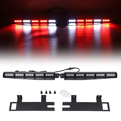 "Strobe Light Bar /34"" 40 LED Emergency Warning/Visor Dash Deck Split/w/Take Down Signal/LED Windshield Flashing (Red/White): Car Electronics"