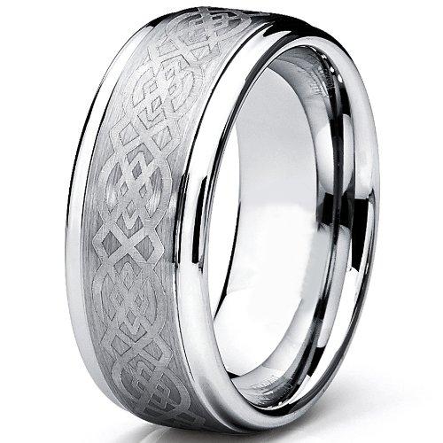 Ultimate Metals® Anillo de Matrimonio Tungsteno Para Hombre, Banda Grabado Láser de Diseño Céltico 9mm: Amazon.es: Joyería