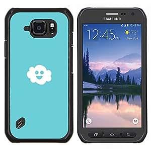 """Be-Star Único Patrón Plástico Duro Fundas Cover Cubre Hard Case Cover Para Samsung Galaxy S6 active / SM-G890 (NOT S6) ( Nube Cielo azul claro Felicidad Blanco Smiley"""" )"""