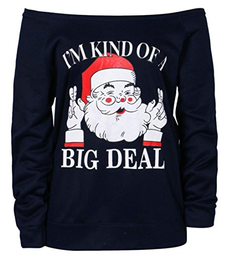M amp; Stampa Donne 1 Sweatershirt Spalle S La Delle Natale A Lungo W Manicotto Casuale amp; rcrfFqBwWT