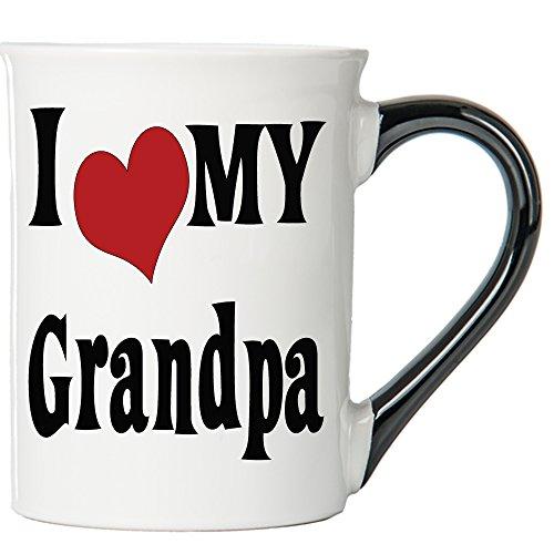 Cottage Creek Grandpa Mug Large 18 Ounce Ceramic I Love My Grandpa Coffee Mug/ Best Grandpa [White]