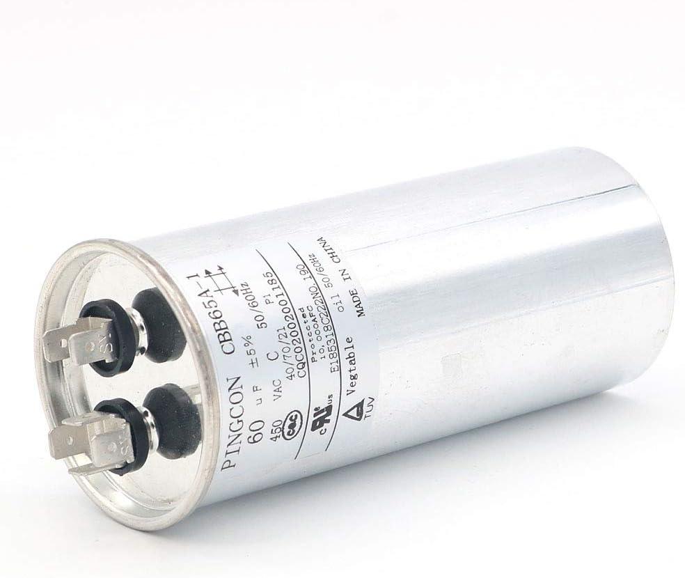 DollaTek 55uF CBB65 Capacitor Motor Running for Air Conditioner 450VAC SH 40//70//21 50//60Hz