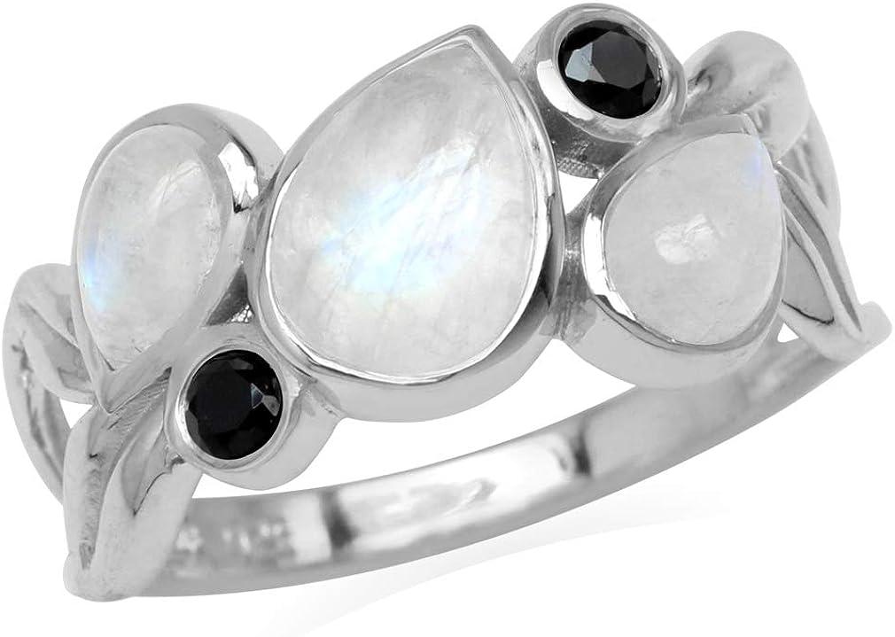 Silvershake Natural Moonstone and Black Spinel 925 Sterling Silver Leaf Vintage Ring