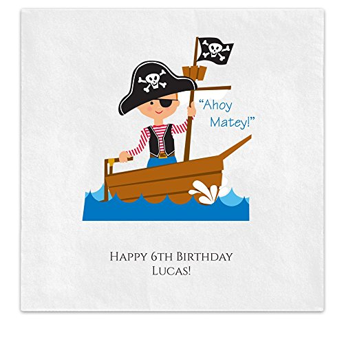 Cute Pirate Boy Kids Child Birthday Party Personalized Luncheon Dinner Ooh La Color Napkins - 100 Custom Printed Paper Napkins (2016591U)