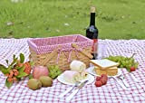 Picnic Basket Natural Woven Woodchip with Double