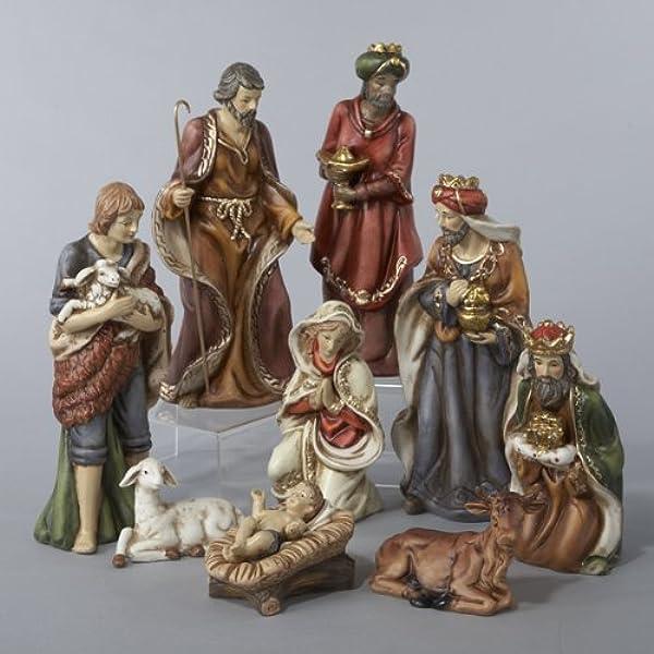 Amazon Com Ksa 9 Piece Classical Porcelain Christmas Nativity Figure Set Home Kitchen