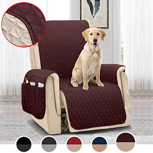 MOYMO Reversible Oversized Recliner Chair Cover,Water-Resistant Recliner Slipcover with 2 Inch Strap,Machine Washable Recliner Cover for Dogs,Kids,Pets(Recliner Oversize:Chocolate/Beige)