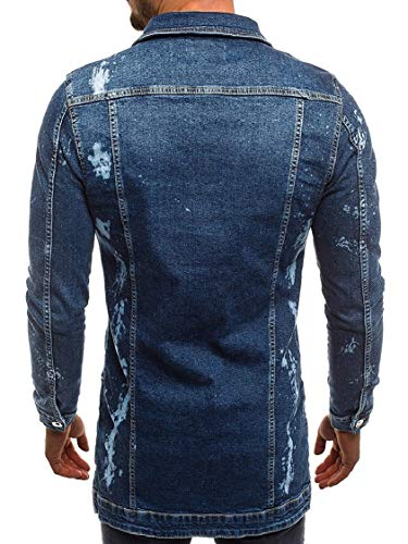 Collar Jackets Mens Blue Silm Open Front Dark Denim Faded Fit Classic Lapel Washed Energy azCOdqq