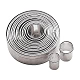 Paderno World Cuisine 47316-12 Dough Cutters, Round, Plain, Various Sizes, 14 Piece Set, Stainless