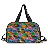 Travel handbag,Modern Decor,Ethnic Africa Tribal Geometric Mosaic Like Design Colorful Vivid Lines Artwork,Multicolor ,Personalized