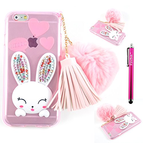 iPhone 5S Case/iPhone SE Case, Firefish Soft Slim Gel Clear Crystal Drop Absorption Case Anti-Slip Protective Skin with Handy Wrist Strap & Hairball for Girls Women Kids-Pink