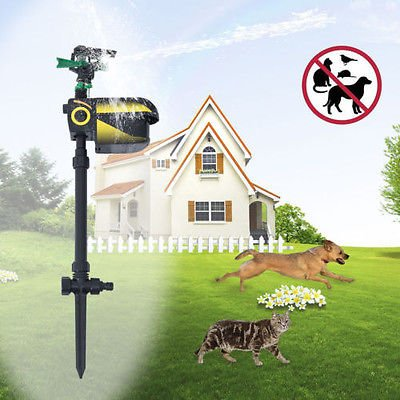 Motion Activated Animal Repeller Garden Sprinkler Scarecrow Black Hot ()