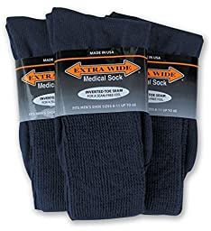Extra Wide Medical Socks for Men (8-11 (up to 6E wide), Navy)