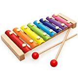 GBDONE Wooden 8 Notes Xylophone - Hand Knock Musical Xylophone 8 Keys Wooden Instrument Percussion With 2 Wood Mallets For Kids