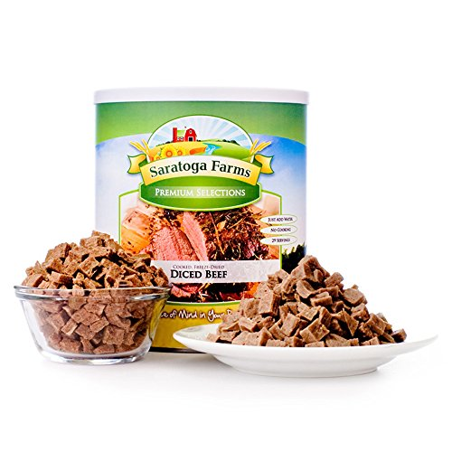 Saratoga Farms Freeze Dried Beef, #1 Emergency Food Storage, 28 Servings with 20-30 Year Shelf-Life in #10 Can (Save More with 2,3,4, or 6 Pack)