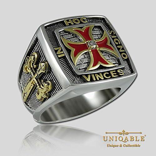 UNIQABLE Knights Templar Cross Masonic Freemasonry Freemason Ring 925 Sterling Silver 18K Gold Plated Men KTR004