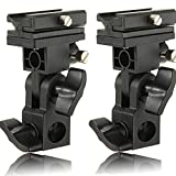 (2 Pack) INSEESI B Type Flash HotShoe Mount Umbrella Holder Swivel Bracket for canon 580EX, 580EXII 550EX 430EX Nikon SB-900 SB-800 SB-600 SB-80DX YONGNUO YN560IV YN600EXRT...
