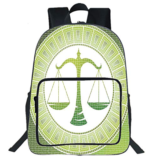 "iPrint 19"" Large Casual Backpack,Astrology,Libra Sign on Antique Mosaic Background Balance Patient Zodiac Air Symbol Decor Decorative,Green White,for boys girls"