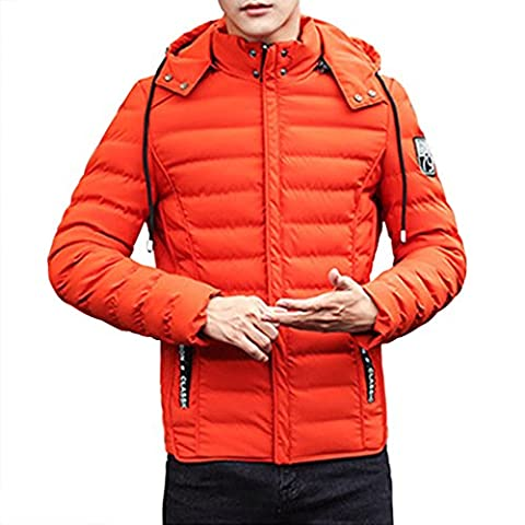 Real Spark(TM) Men Winter Cotton Padded Warm Slim Hooded Zip Up Puffer Jacket Coat Orange M - Beaufort Waxed Cotton Jacket