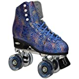 NEW! Epic Dazzle Blue & Gold High-Top Quad Roller Skates w/ 2 Pr Laces (Blue & Black)