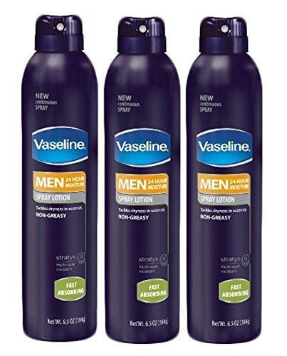 Set of 3 Vaseline Men Skin Moisturizer Non-Greasy Spray Loti