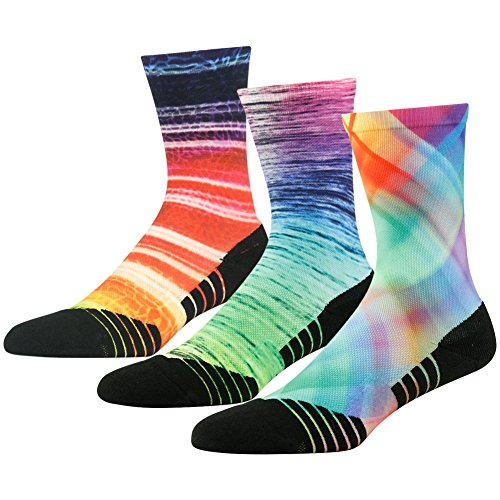 Wedding Theme Socks Novelty, HUSO Men's Women's Art Unique Printing Seamless Lightweight Crew Mid Calf Socks 3 Pairs (Multicolor, L/XL) by HUSO