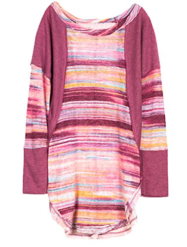 Mallimoda Big Girl's Long Sleeve Round Neck colorful Textured Knit T-Shirt Top Pink 13-14 Years