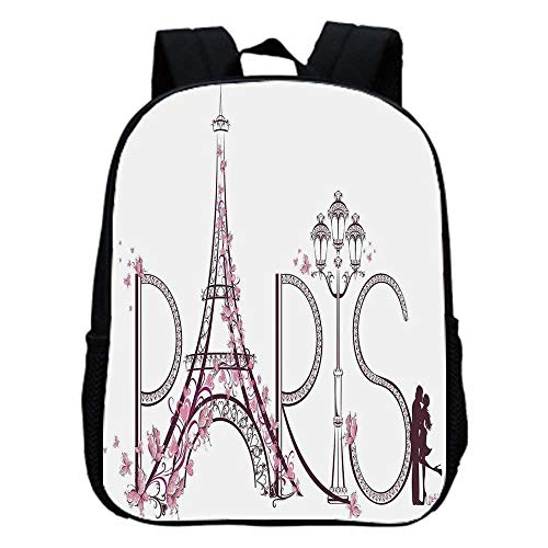 Paris City Decor Fashion Kindergarten Shoulder Bag,Tower Eiffel with Paris Lettering Illustration Couple Trip Flowers Floral Artful Design For Hiking,One_Size