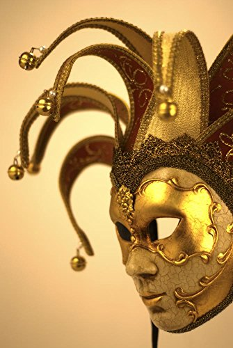 Wallmonkeys Gold Venetian Masquerade Mask Peel and Stick Wall Decals WM300828 (18 in H x 12 in W) (Simple Venetian Masks)