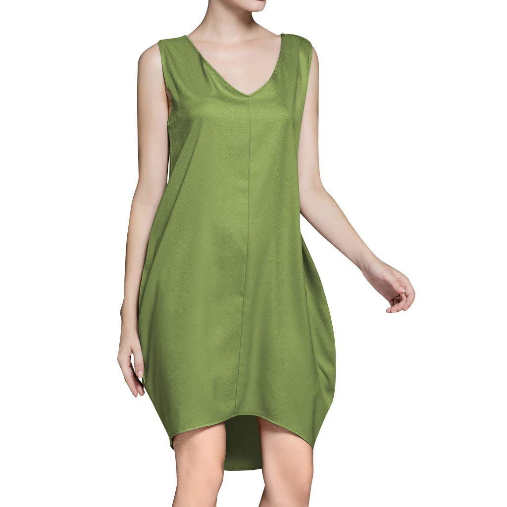 Women's Casual Vintage Linen Cotton Tshirt Dress Plus Size Sleeveless V Neck Loose Beach Holiday Dress(Green,S)