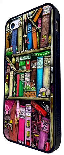 1286 - Cool Fun Trendy Cute Kawaii Book Shelves Books Library Colourful Cartoon Sketch Design iphone SE - 2016 Coque Fashion Trend Case Coque Protection Cover plastique et métal - Noir