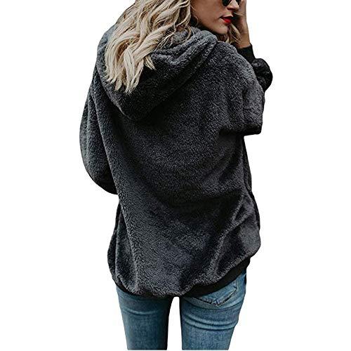 con Sudadera Capucha QinMM Gris Abrigo Oscuro Talla sólido Mujer Grande otoño Invierno para de Hoodie cEFFUn1B