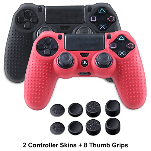 PS4 Controller Silicone Covers - PS4 Slim Skins for DualShock 4 - Anti-Slip Protector Case Set for Sony Playstation 4, Slim, Pro 2 PS4 Controller Skins - 4 Pairs PS4 Thumb Grips - Black & Red