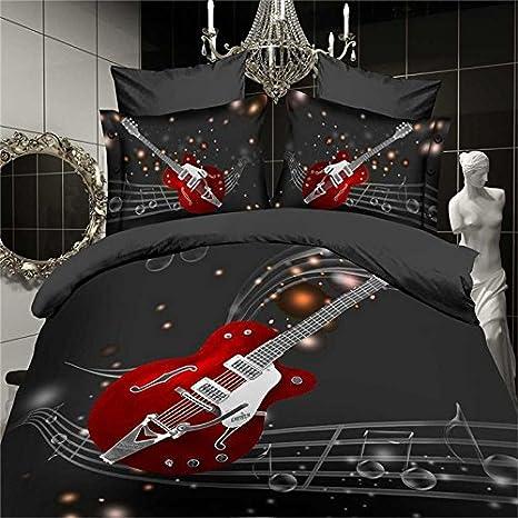 QzzieLife 3D Music Guitar Print 4PC Duvet Cover Sets Soft Microfiber Full Queen Size Black