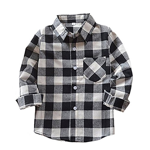 Happy GoGo Kid Girl Boy Long Sleeve Button Down Plaid Flannel Shirt (Black-White, 2T) -
