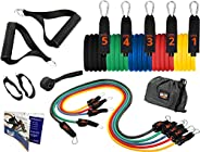 Brazyn Resistance Bands Kit (with Handles) - 12-Piece Fitness Workout Band Set - for Home Workouts, Strength T