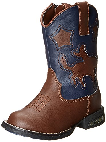 Roper Star Rider R Toe Light Up Cowgirl Boot , Tan, 5 M US T