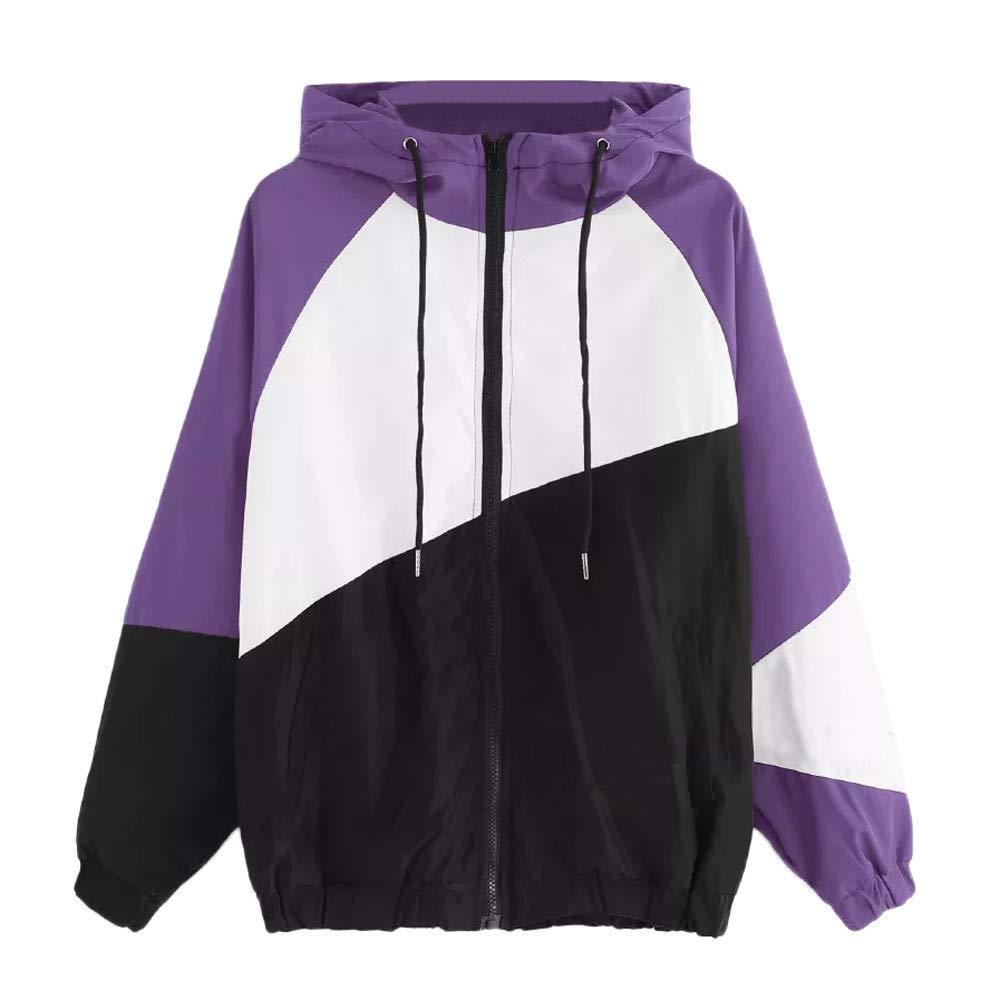 Ulanda Women Long Sleeve Patchwork Thin Zip Up Hoodie Jacket Casual Hooded Sport Coat