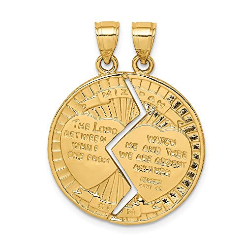14k Yellow Gold Break Apart Mizpah Pendant Charm Necklace Religious Judaica Fine Jewelry Gifts For Women For Her ()